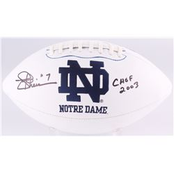 "Joe Theismann Signed Notre Dame Fighting Irish Logo Football Inscribed ""CHOF 2003"" (Radtke COA)"