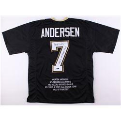"""Morten Andersen Signed Saints Career Highlight Stat Jersey Inscribed """"Hall of Fame 2017"""" (Radtke COA"""