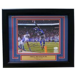 """Odell Beckham Jr. Signed Giants """"The Catch"""" 11x14 Custom Framed Photo (JSA COA)"""