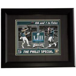Trey Burton  Nick Foles Eagles Superbowl LII 11x14 Custom Framed Photo Display