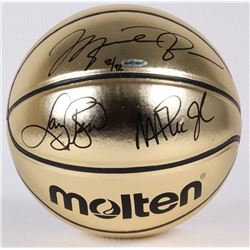 Michael Jordan, Larry Bird  Magic Johnson Signed LE Molten Gold Basketball (UDA COA)