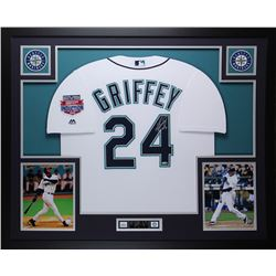 """Ken Griffey Jr. Signed Mariners 35"""" x 43"""" Custom Framed Jersey Inscribed """"HOF 16"""" (TriStar Hologram)"""