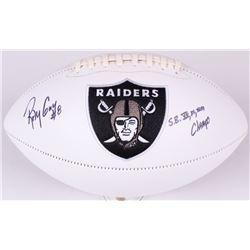 """Ray Guy Signed Raiders Logo Football Inscribed """"S.B. XI, XV, XVIII Champs"""" (JSA COA)"""