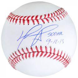 """David Ortiz Signed OML Baseball Inscribed """"500 HR 9-12-15"""" (Fanatics  MLB Hologram)"""