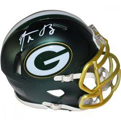 Aaron Rodgers Signed Packers Blaze Speed Mini Helmet (Steiner Hologram)