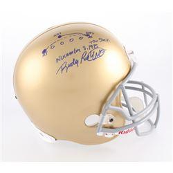"Rudy Ruettiger Signed Notre Dame Fighting Irish Full-Size Helmet Inscribed ""The Sack November 8, 197"