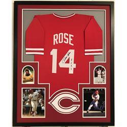 """Pete Rose Signed Reds 34x42 Custom Framed Jersey Inscribed """"4256"""" (JSA COA)"""