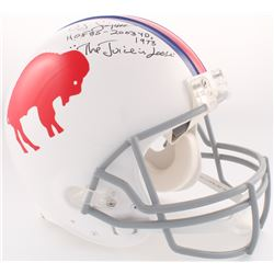"""O.J. Simpson Signed Bills Throwback Full-Size Authentic On-Field Helmet Inscribed """"H.O.F 85 - 2003 Y"""