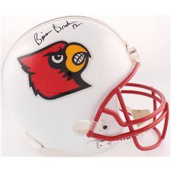 Brian Brohm  Michael Bush Signed Louisville Cardinals Full-Size Helmet (JSA COA)