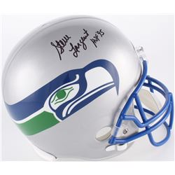 """Steve Largent Signed Seahawks Full-Size Throwback Helmet Inscribed """"HOF '95"""" (JSA COA)"""