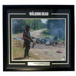 "Norman Reedus Signed ""The Walking Dead"" 25x27 Custom Framed Photo Display (JSA COA)"
