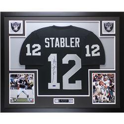 """Ken Stabler Signed Raiders 35"""" x 43"""" Custom Framed Jersey (Radtke COA)"""