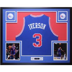 Allen Iverson Signed 76ers 35x43 Custom Framed Jersey Display (JSA COA)