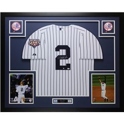 Derek Jeter Signed Yankees 35x43 Custom Framed Jersey (Steiner COA)