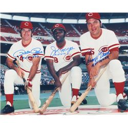 Pete Rose, Joe Morgan  Johnny Bench Signed Reds 16x20 Photo With (3) Inscriptions (FSC COA)