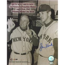 Jay Hook Signed Giants 8x10 Photo with Casey Stengel (FSC COA)