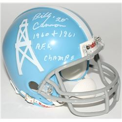"Billy Cannon Signed Oilers Throwback Mini-Helmet Inscribed ""1960 + 1961 A.F.L. Champs"" (Radtke COA)"