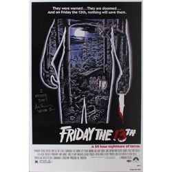 "Ari Lehman Signed ""Friday the 13th"" 24x36 Move Poster Inscribed ""I Never Die""  ""Jason 1"" (PA COA)"