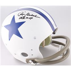 "Roger Staubach Signed Cowboys Throwback Suspension Full-Size Helmet Inscribed ""SB VI MVP"" (JSA COA)"