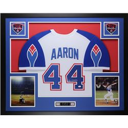 Hank Aaron Signed Braves 35x43 Custom Framed Jersey (JSA COA)