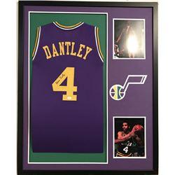 Adrian Dantley Signed Jazz 34x42 Custom Framed Jersey (JSA COA)