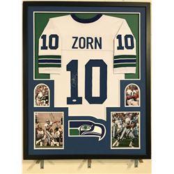 Jim Zorn Signed Seahawks 34x42 Custom Framed Jersey (JSA COA)
