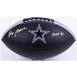 "Roger Staubach Signed Cowboys Logo Football Inscribed ""HOF '85"" (JSA COA)"