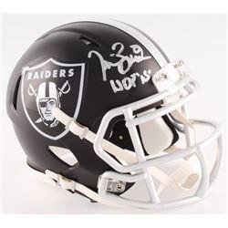 "Tim Brown Signed Raiders BLAZE Mini-Helmet Inscribed ""HOF 15"" (Radtke COA)"
