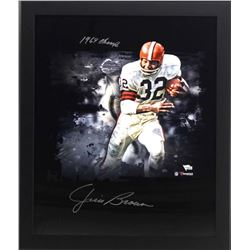 """Jim Brown Signed Browns 20x24 Custom Framed Photo Display Inscribed """"1969 Champs"""" (Fanatics)"""