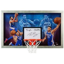 """Ben Simmons Signed LE 30.5x18.5 Acrylic Backboard Display Inscribed """"Triple-Double"""" (UDA COA)"""