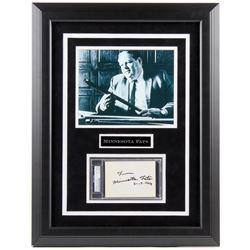 "Rudolf Wanderone Signed ""Minnesota Fats"" 23x27 Custom Framed Cut Display (PSA Encapsulated)"