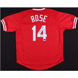 "Pete Rose Signed Reds Jersey Inscribed ""4256""  ""Hit King"" (Radtke COA)"