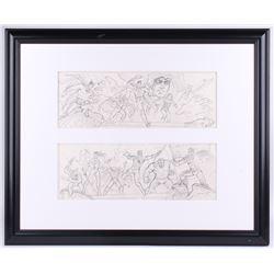 "Greg Hildebrandt Signed 2007 ""DC  Marvel Classic Characters Mural"" 27x33 Custom Framed Original Sket"