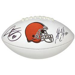 Josh Gordon  Jarvis Landry Signed Browns Logo Football (JSA COA)