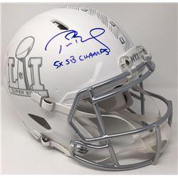 Tom Brady Signed Super Bowl 51 Limited Edition Custom Matte White ICE Full-Size Speed Helmet Inscrib