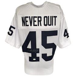"Rudy Ruettiger Signed ""Never Quit"" Notre Dame Fighting Irish Jersey (JSA COA)"