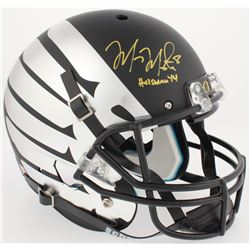 "Marcus Mariota Signed Oregon Ducks Custom Matte Black Full-Size Helmet Inscribed ""Heisman '14"" (Radt"