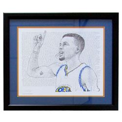 """Steph Curry"" Warriors Word Art 22x27 Custom Framed Print Display"