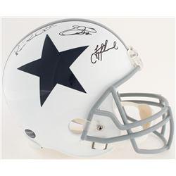 Emmitt Smith, Troy Aikman  Michael Irvin Signed Cowboys Full-Size Helmet (Smith, Aikman, Radtke  Pro