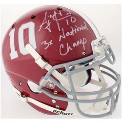 "AJ McCarron Signed Alabama Crimson Tide Full-Size Authentic On-Field Helmet Inscribed ""3x National C"