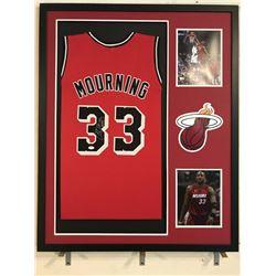 Alonzo Mourning Signed Heat 34x42 Custom Framed Jersey Display (JSA COA)