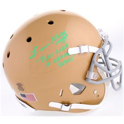"Lou Holtz Signed Notre Dame Fighting Irish Full-Size Authentic On-Field Helmet Inscribed ""Play Like"