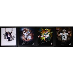 Lot of (4) Signed 23.5x27.5 Custom Framed Photo Displays with Tom Brady, Aaron Rodgers, Peyton Manni