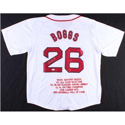 "Wade Boggs Signed Red Sox Career Highlight State Jersey Inscribed ""HOF 05"" (JSA COA)"