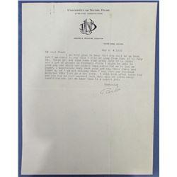 Knute Rockne Signed Typed Letter (JSA LOA)