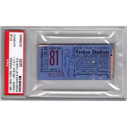 Roger Maris Yankees 1961 Home Run Record Ticket (PSA Authentic)