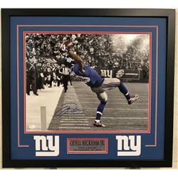 Odell Beckham Jr. Signed Giants 23x29 Custom Framed Photo Display (JSA COA)