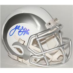 Jared Goff Signed Rams Custom Matte White ICE Mini Speed Helmet (Fanatics Hologram)