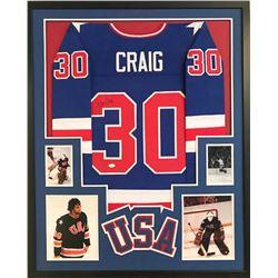 Jim Craig Signed Team USA 34x42 Custom Framed Jersey (JSA COA)