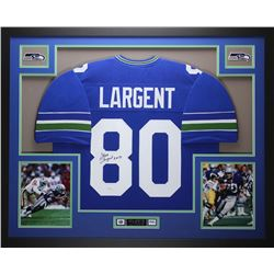 "Steve Largent Signed Seahawks 35"" x 43"" Custom Framed Jersey Inscribed ""HOF 95"" (JSA COA)"